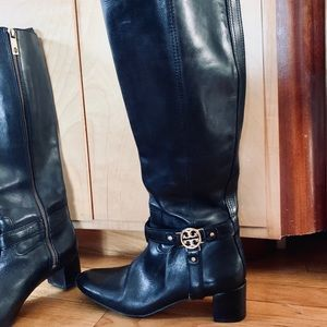 Tory Burch Black Leather Riding Boots Sz 8